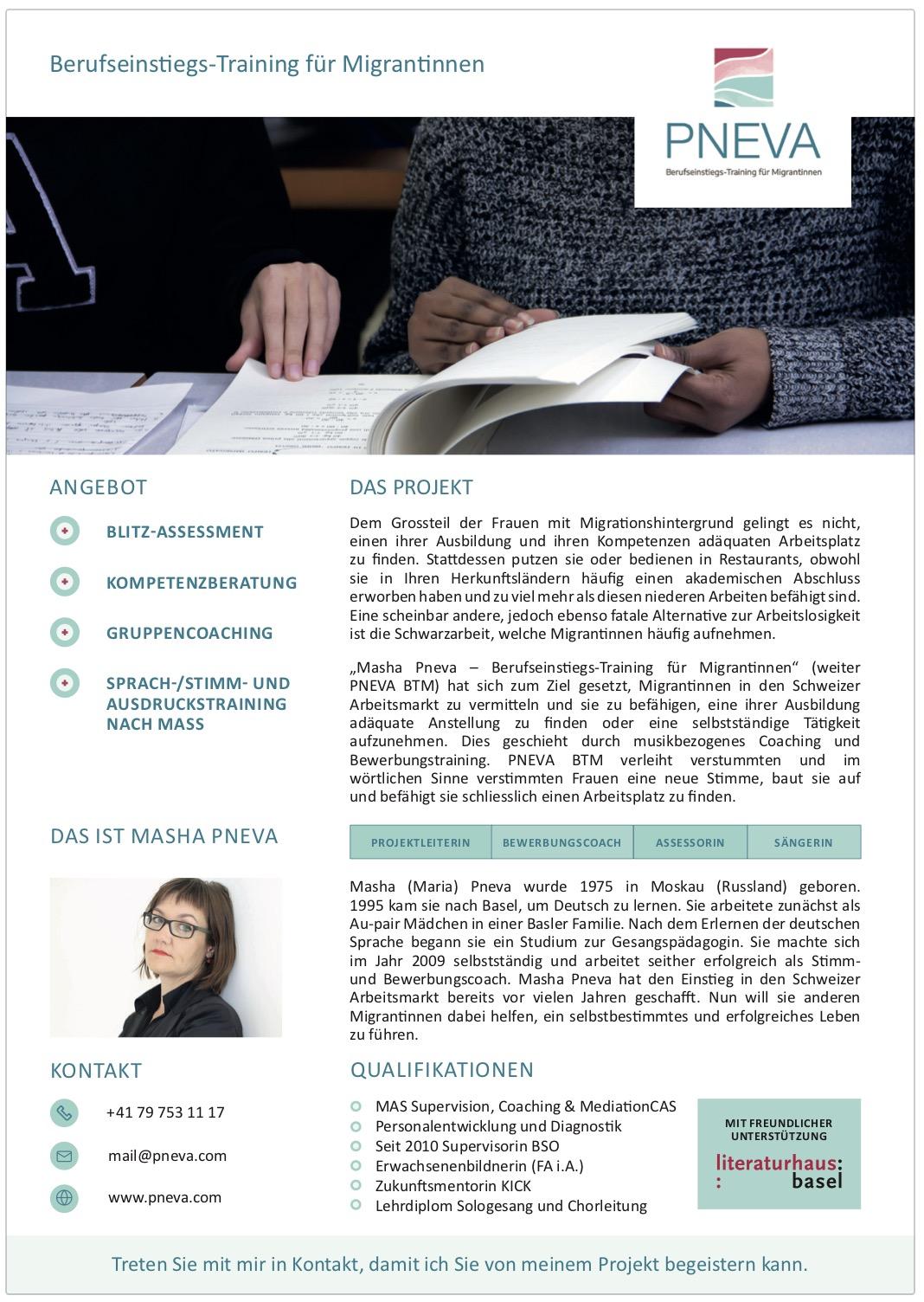 Flyer Berufseinstiegstraining MIgrantinnen